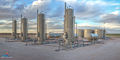 oilfield separator, battery, panorama, sunset, San Andres, Permian Basin, mural, fine art mural, oil & gas gathering, midstream oil & gas art, midstream oilfield art, fine art oil & gas photography