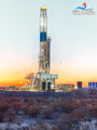 Chevron, drilling rig, pad drilling, Delaware Basin, Permian Basin, Texas, Pecos Texas, mural, high resolution, vertical, Winter, stillness, sunrise