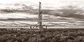 drilling rig, sepia, black & white photography, fine art black & white photography, Lea County New Mexico, Delaware Basin, Permian Basin