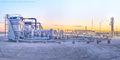 Pecos Texas, Delaware Basin, compressor, sunset, panorama, Permian Basin, gas plant, midstream oil & gas