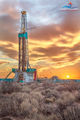 Delaware Basin, Permian Basin, drilling rig, sunset, Frontier Drilling, 