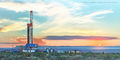 pad drilling, panorama, high resolution, Guadalupe Pass, Western Texas, New Mexico, Chevron, Delaware Basin, Permian Basin, drilling rig, mountains, Guadalupe Mountains, Orla Texas, Fall, sunset, mura