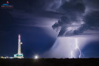 Delaware Basin, Permian Basin, drilling rig, lightning, night, monsoon, Orla Texas, shale exploration, thunderstorm, Texas, fine art, oil & gas, composite photography, lightning photography, composite