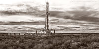 drilling rig, sepia, black & white photography, fine art black & white photography, Lea County New Mexico, Delaware Basin, Permian Basin