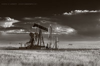 pump jack, Permian Basin, New Mexico, pumpjack, pumping unit, arctic cold front, cold front, oil, oil & gas photography, oilfield art, high resolution, sepia, black & white, spring, weather, landscape