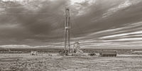 Chevron, pumpjack, pump jack, Lufkin, Midland Texas, Permian Basin,  high resolution, sepia, black & white, black and white, fine art