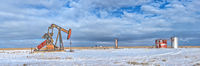 pumpjack, pump jack, Winter, snow, New Mexico, Button Mesa, Permian Basin, Chavez County New Mexico, high resolution, panorama, solitude, Lufkin Pumpjack, Lufkin pump jack, Lufkin pumping unit