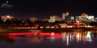 Midland Texas, night, red, skyline, Permian Basin, oil, energy