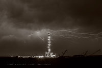 drilling rig, lightning, Patterson, Patterson UTI, Patterson Drilling, oil &  gas photography, oil and gas photography, oilfield art, Orla Texas, Midland Texas, Permian Basin, Patterson Rig 242, Sepia