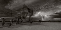 Lighting, pump jack, pumpjack, Stanton Texas, sepia
