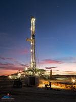Delaware Basi, Permian Basin, Texas, Western Texas, drilling rig, casing, Cimarex, sunrise, Winter, cold, January, Orla Texas, Cactus 148, Cactus Drilling