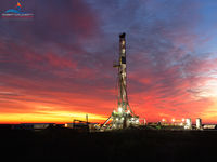 drilling rig, sunrise, Barstow Texas, Texas, Permian Basin, oilfield art, panorama, panoramic, high resolution, Precision Drilling, Precision Drilling Rig 573