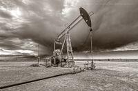 Oxy USA, pumpjack, pump jack, Winter, winter storm, New Mexico, fine art photography, sepia, black & white photography, black and white photography, high resolution, Eastern New Mexico, Delaware Basin