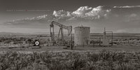 Colorado, Cortez County, pumpjack, pump jack, mountains, San Juan Mountains, fall, sepia, black & white, oilfield, natural gas, evening, storm, thunderstorm