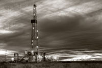 Drilling rig, Sepia, winter, sunset, Midland Texas, oil & gas photography, oilfield art