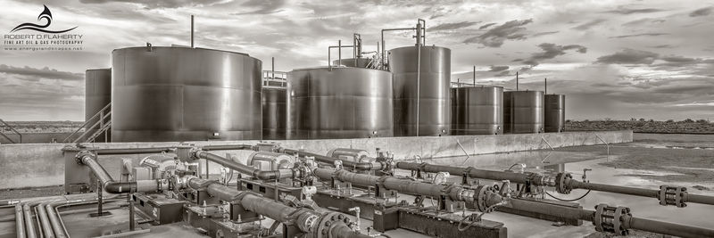 SWD, salt water disposal well, Texas, Delaware Basin, Permian Basin, high resolution, black & white photography, sepia, leather, decor, composite panorama, Baker Hughes, injection pumps, rain, midstre