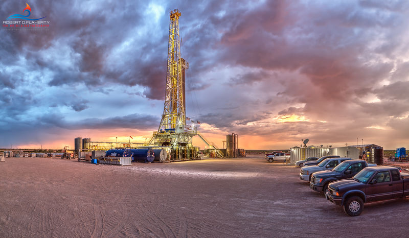 Delaware Basin, West Texas, Barstow Texas, drilling rig, sunset, thunderstorm, Manti Tarka Permian, Scan Drill Inc., Patriot, lateral well, Summer