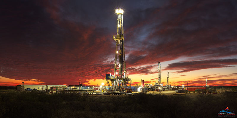 Drilling rig, fall, sunset, pad drilling, Lea County, Delaware Basin, Permian Basin, New Mexico, Jal New Mexico, oilfield traffic,