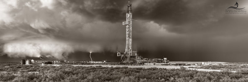 drilling rig, Precision Corp. Drilling, directional well, thunderstorm, hail, tornado, F3 tornado, sepia, New Mexico, Jal New Mexico, high resolution, panorama, Delaware Basin, Permian Basin