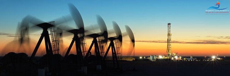 Pumpjack, sunrise, Midland Basin, Permian Basin, Tarzan Texas, Western Texas, long exposure, drilling rig, panorama, high resolution