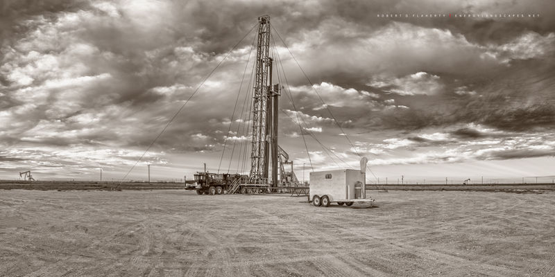 well servicing unit, University Lands, Texas, Martin County, Sunday, Morning, Permian Basin, clouds, sepia, black & white, black and white, mural, high resolution, high resolution mural, fine art mura