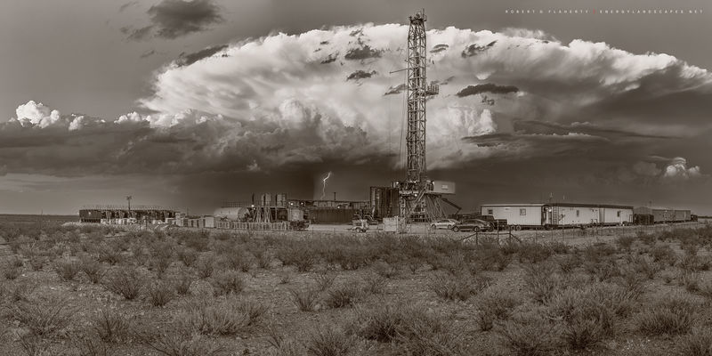 high resolution, panorama, sepia, black & white, drilling rig, lateral well, thunderstorm, lightning, sepia toned, Contango Oil & Gas, Spring, Precision Drilling Corp. rig 555, Delaware Basin, West Te