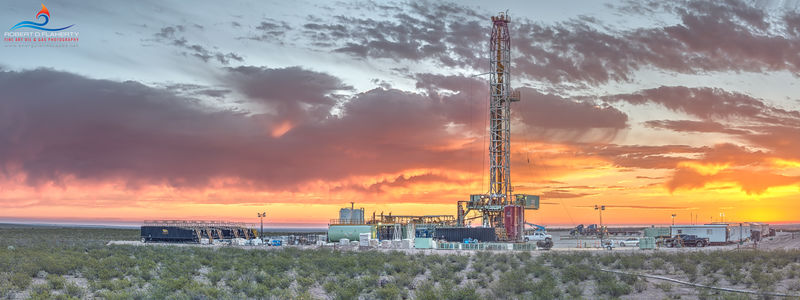 Contango Oil & Gas, drilling rig, Precision Corp. drilling rig 555, lateral well, Southern Delaware Basin, panorama, Ft. Stockton Texas,  high resolution, sunrise, thunderstorms, Permian Basin