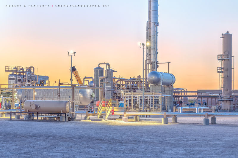 Pecos Texas, gas plant, sunset, Delaware Basin, Permian Basin, detail, gas plant construction, midstream
