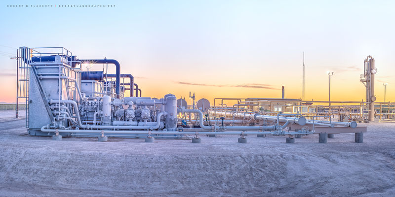 Pecos Texas, Delaware Basin, compressor, sunset, panorama, Permian Basin, gas plant, midstream oil & gas