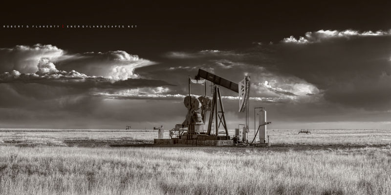sepia, pumpjack, pump jack, Really Right Stuff, New Mexico, Thunderstorm, Oil & Gas Photography, oil &gas photography, oilfield art, oilfield photography,tripod