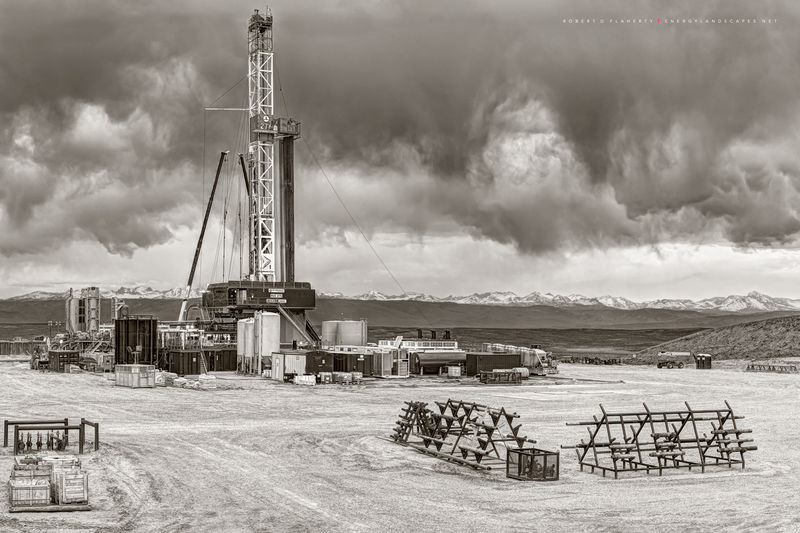 drilling rig, Patterson UTI, Wyoming, Boulder Wyoming, Fall, mountains, fine art oil & gas photography
