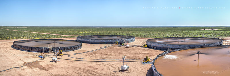 frac containment pond, oil & gas water assets, panorama, Orla Texas, Permian Basin, Delaware Basin, high resolution, water recycling, oil & gas water recycling, frac water, frac water recycling