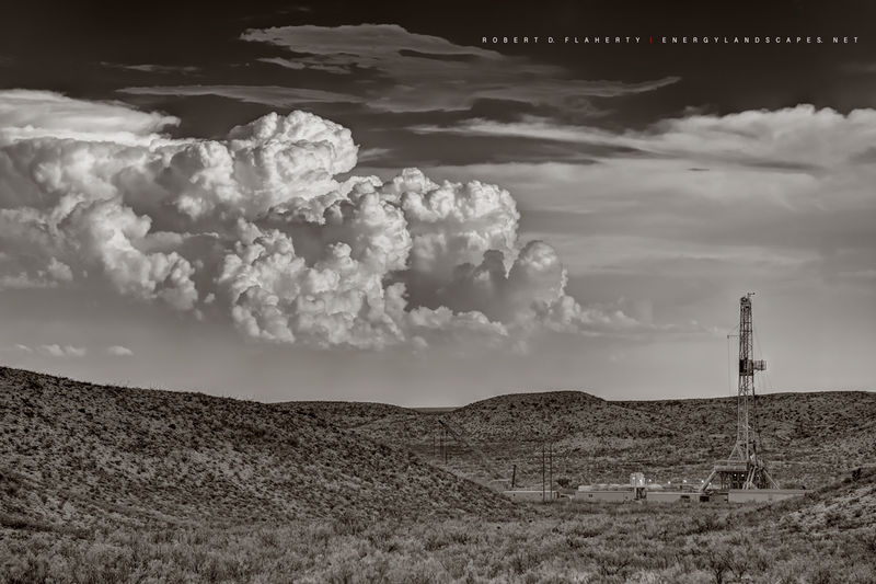 Delaware Basin, drilling rig, Cactus Drilling, West Texas, Western Texas, mountains, lateral gas well, July, thunderstorm, storm, Cimarex, Chevron, Permian Basin, sepia, black & white, black and white
