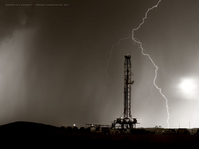 drilling rig, West Texas, Delaware Basin, Permian Basin, Monsoon, sepia, lighting, black & white, fine art black & white photography, panorama, instant composite panorama, high resolution