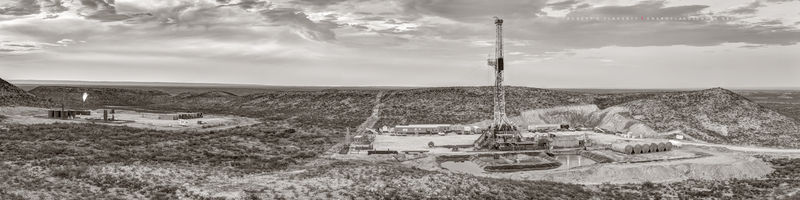 Permian Basin, Delaware Basin, West Texas, drilling rig, directional well, panorama, composite panorama, sepia, black & white, sepia toned black & white, fine art black & white photography, mural