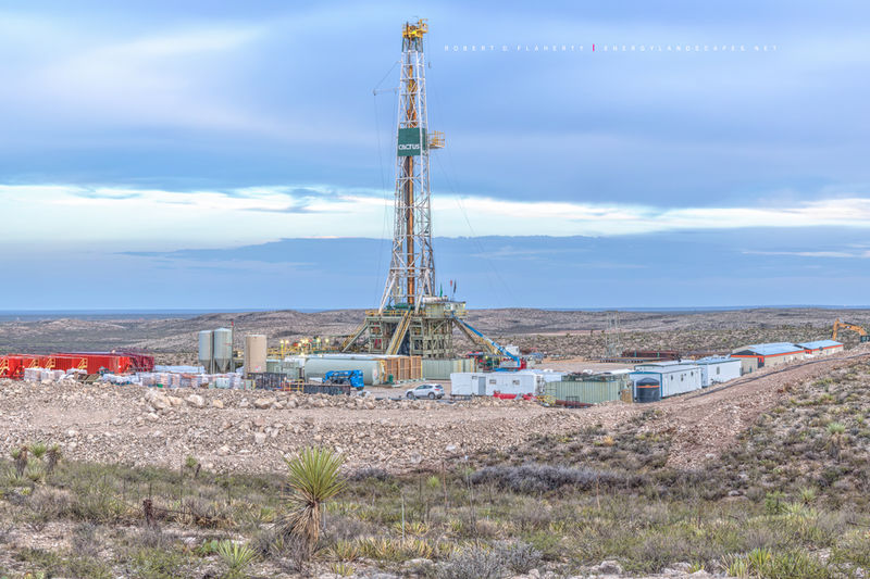 Gato Del Sol, Cactus Drilling, mural high resolution, lateral gas well, lateral drilling, Permian Basin, Delaware Basin, Western Texas, Texas, drilling rig, panorama, gas well, oil w