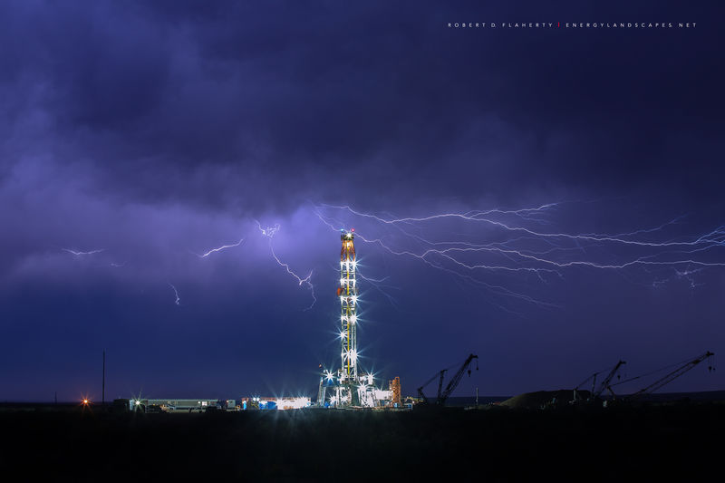 drilling rig, lightning, Patterson, Patterson UTI, Patterson Drilling, oil &  gas photography, oil and gas photography, oilfield art, Orla Texas, Midland Texas, Permian Basin, Patterson Rig 242