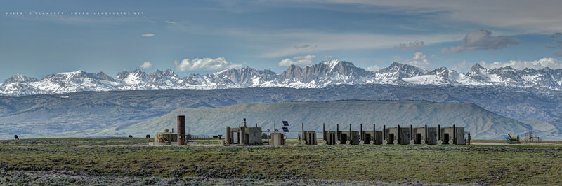 natural gas, Wind River Range, Wyoming, Summer, Spring, mural, high resolution, cows, mountains, snow, fine art, oilfield art
