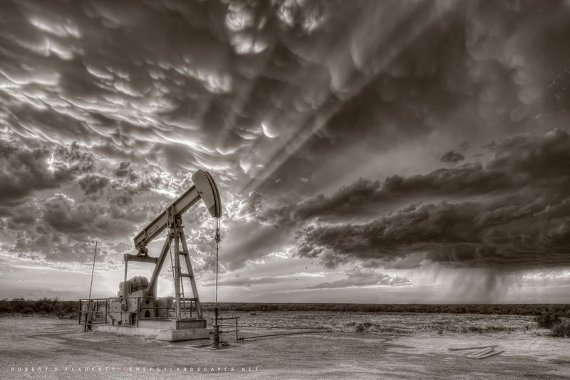 Sepia, Pioneer Natural Resources, Pumpjack, pump jack, Pumping Unit, thunderstorm, supercell thunderstorm, Stanton Texas, Midland Texas, Oilfield Art, Oil & Gas Photography, tornado, June