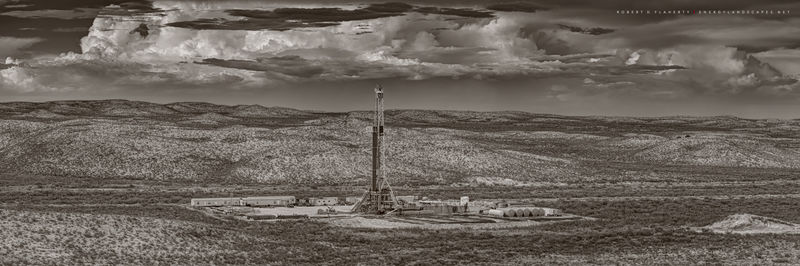 Delaware Basin, panorama, lateral well, sepia, black & white, Western Texas, monsoon, composite panorama, mural, high resolution