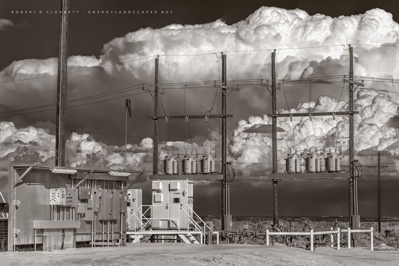 oilfield electrical assets, oilfield battery, thunderstorm, Delaware Basin, Cimarex, Dixie Battery, fine art, sepia, West Texas, Permian Basin