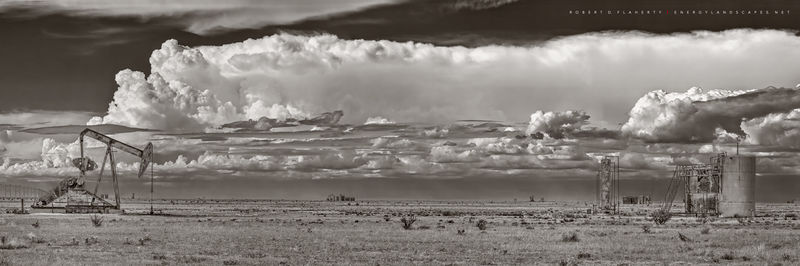 Summer Sky Panorama In Sepia, Pumpjack,  pump jack, Chavez County New Mexico, New Mexico, oil production, gas production, grassland, monsoon, drought, thunderstorm, 2014, Eastern New Mexico, oilfield,