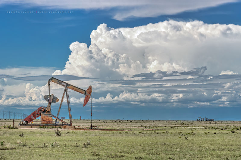 Pumpjack,  pump jack, Chavez County New Mexico, New Mexico, oil production, gas production, grassland, monsoon, drought, thunderstorm, 2014, Eastern New Mexico, oilfield, oilfield art, oil & gas photo