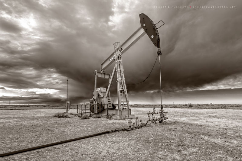 Oxy USA, pumpjack, pump jack, Winter, winter storm, New Mexico, fine art photography, sepia, black & white photography, black and white photography, high resolution, Eastern New Mexico, Delaware Basin
