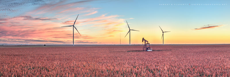 pumpjack, pump jack, wind turbine, grain, grain field, harvest, Dodge City Kansas, Fall, October, 2018, panorama, composite panorama