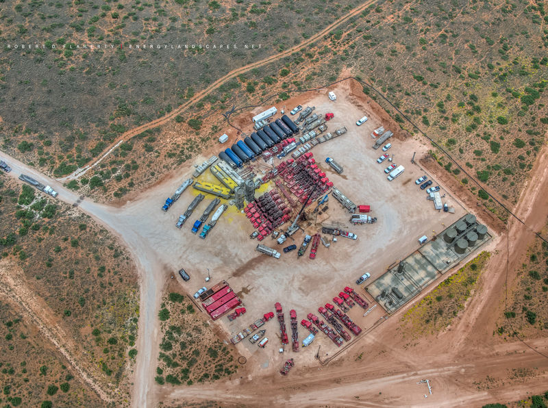 Eagle Ford, frac, Carizzo Springs, Texas, Aerial photography