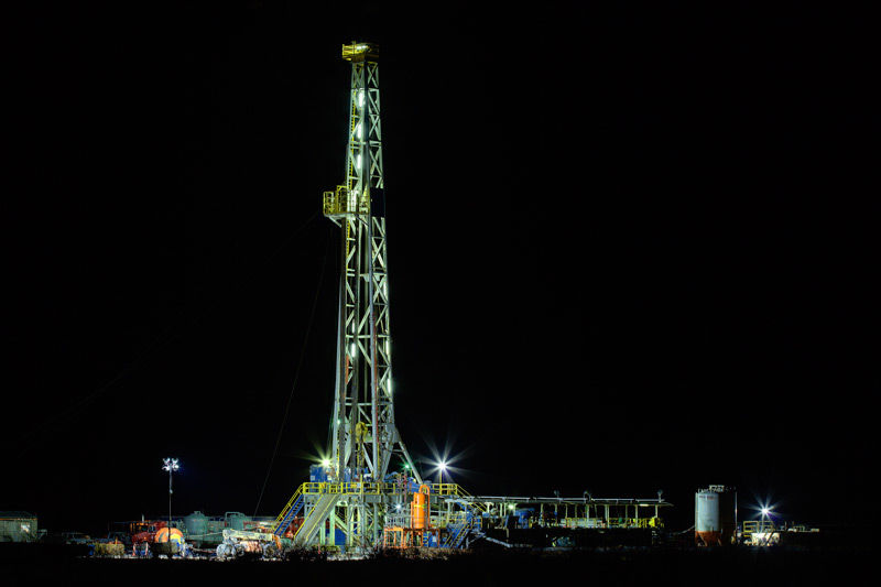 drilling rig, night, University Lands, Texas, Andrews Texas
