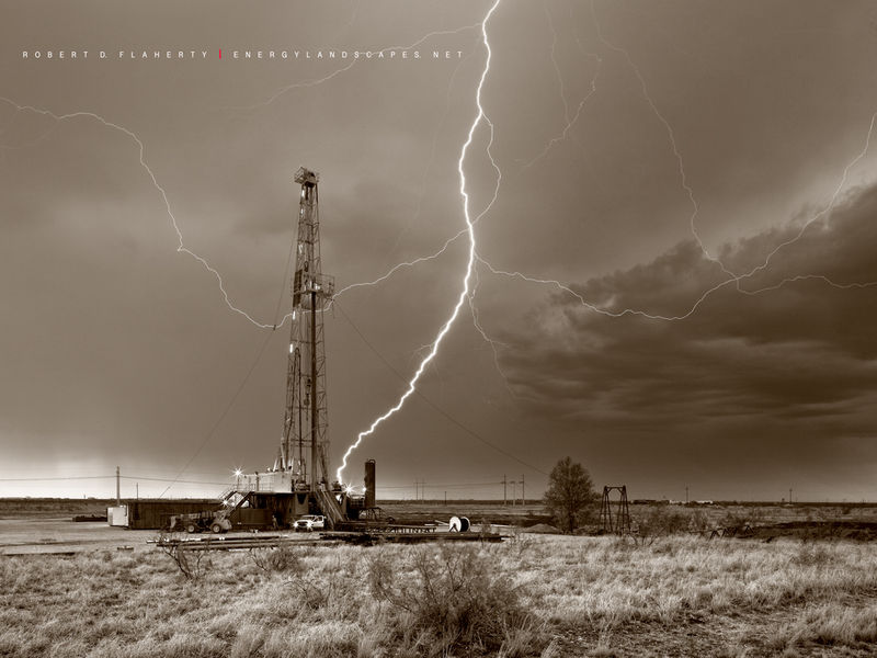 ABC Blood & Oil, Blood & Oil, Blood and Oil, Hap Briggs, Don Johnson, Midland Texas, Sepia, black & white photography, drilling rig, oilfield art, artwork, conference room, set