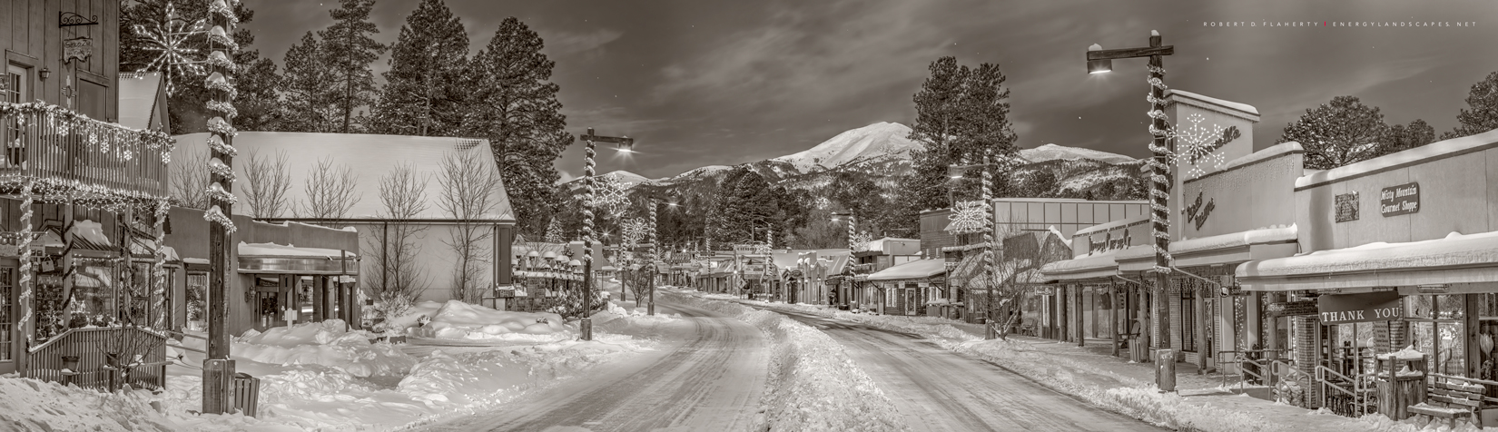 Christmas At Midtown In Sepia The image is a high resolution panorama with an approximate 4:1 ratio featuring the shopping district...
