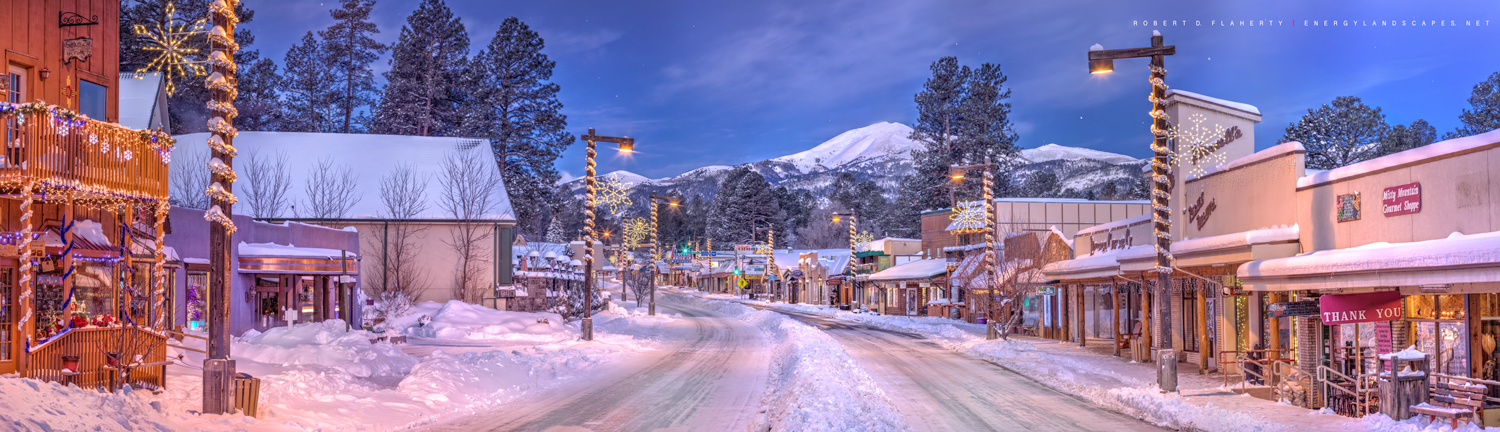 Christmas, Ruidoso, fine art landscape photography, fine art photography, Midtown Ruidoso, panorama, high resolution, night, large format, New Mexico, Northern New Mexico, Southern New Mexico, Central